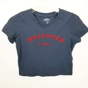 XS Hollister Cropped Logo Slim Tee